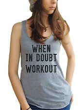 When In Doubt Workout American Apparel Tri-Blend Racerback Funny Yoga Tank Top