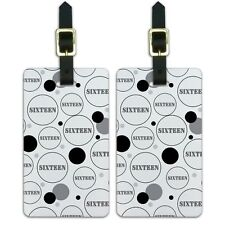 Luggage Suitcase ID Tags Set of 2 Birthday Party Diamond Pattern Black and White