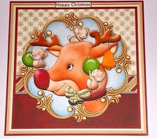 Handmade Greeting Card 3D Christmas With A Reindeer And Mice