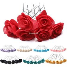 6 Rose Hair Pins Grips Flower Wedding Bridesmaid Accessories All Colours FT