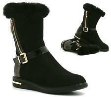 NEW LADIES BLACK FUR LINED FLAT HEEL GRIP SOLE WINTER ANKLE BOOTS SHOES SIZE