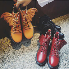 Winter Womens Vintage Shoes Martin Combat Angel Wing Ankle Boots Lace Up Booties