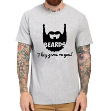 Loo Show Mens Beards, They Grow On You! Casual T-Shirts Men Tee