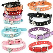 Small Puppy Pet Doggy PU Leather Neck Strap Pet Dog Collar Bling Crystal Collar