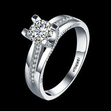 Fashion Solitaire Engagement Gift Wedding Ring 18KGP Rhinestone Crystal Size 6-9