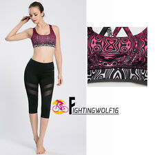 Women Bras Underwear Gym Yoga Fitness Exercise Top Shorts Padded Sports Printed