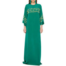 $4490 New Oscar de la Renta emerald Green  Bead Sequin Caftan Gown DRESS S M L