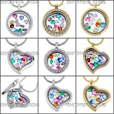 Living Memory Locket Necklace Heart Crystal Birthstones Floating Charms Gift Box