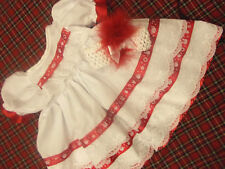 DREAM BABY XMAS RIBBON DRESS & HBD NB 0-3 3-6 MONTHS OR REBORN