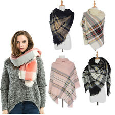 Fashion Oversized Tartan Plaid Blanket Scarf Wrap Shawl Cozy Checked Pashmina