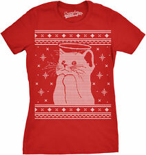 Womens Halo Kitty Ugly Christmas Sweater Funny Kitten Holiday T shirt