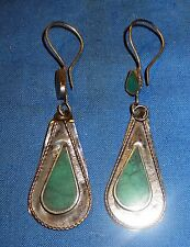 Earrings Teardrop Turquoise Carnelian Malachite Lapis Afghan Kuchi Tribal Alpaca