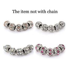 5pcs Silver Plated Crystal European Charms Charm Beads fit snake chain bracelet