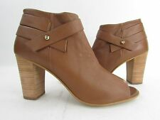NEW Women's Steve Madden Now Brown Leather Zip Up Open Toe Ankle Boot