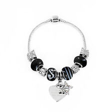 NEW PERSONALISED CHARM BRACELET AND CHARMS CHOOSE FORM 3 DESIGNS AND 2 SIZES