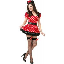 Sexy Mouse Costume Adult Womens Red Polka Dot Minnie Dress Halloween Fancy Dress