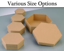 Paper Mache Hexagon Flat Boxes with Lids to Decorate - Choice of Size