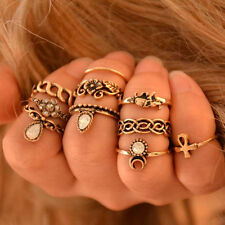 Lot 10PCS Punk Vintage Women Knuckle Rings Tribal Ethnic Hippie Stone Joint Ring