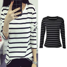 Women Long Sleeve Loose Blouse Stripe Pattern Cotton Blend O-neck Tops EF