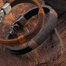 Fashion Surfer Mens Hemp Wrap Leather Wristband Bracelet Cuff Black Brown hs
