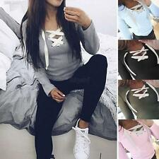 Womens Style Slim Long Sleeve Blouse Shirt Bandage Tops Casual Sports T-shirt