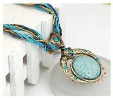 Bohemia Style Multilayer Beads Chain Crystal Gem Grain Pendant Necklace