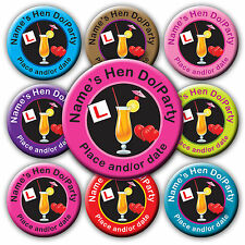 Personalised Birthday Hen Party Cocktail Badges Mirror gifts - add your names