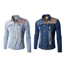 Autumn Mens Boys Long Sleeve Slim Cowboy Fashion Jeans Coat Casual Blue Jacket K