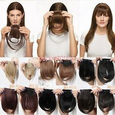 Real Thick Clip In Bangs Fringe Fake Hair Extension Brown Black Straight Bang ME