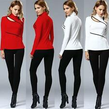 Chic Women Cut Out Plunge Choker Collar High Neck Long Sleeve Blouse Shirt Tops