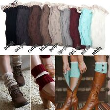 Womens Crochet Lace Trim Knitted Leg Warmers Boot Socks Cuffs Toppers Stockings