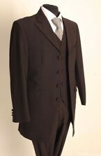 MJ-154 MENS TWO PIECE BROWN PINSTRIPE PRINCE EDWARD SUIT WEDDING/FORMAL