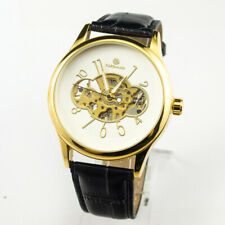 FORSINING  Mechanical Hand Wind Wrist Watch Mens Womens New Gold Case Skeleton