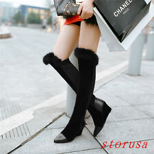 Women Lady Wedge Heel Pointy Toe Silm Leg Over Knee High Boots Furry Snow Boots