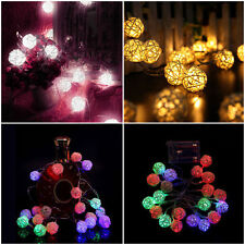 20 LED Rattan Ball String Light Home Fairy Lamp Wedding Party Xmas Decoration