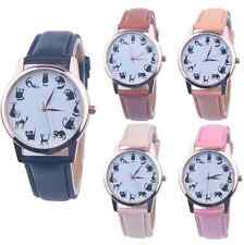Women Stainless Steel ACasual Watch Cat Dial Leather nalog Quartz Wrist Watches