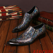 Mens Pointy Toe Slip on lOafers Glitter Shiny Dress Nightclub Shoes Silver Shoes