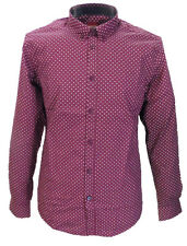Merc Burgundy/White Pindot Cotton Long Sleeved Retro Mod Button Down Shirts