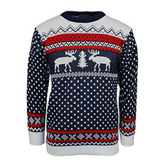 Adult Novelty Two Reindeers Retro Merry Christmas Knitted Jumper Xmas Sweater