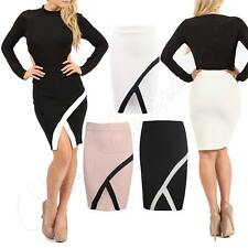 Womens Ladies Celebs Asymmetrical Hem Stretch Bodycon Contrast Panel Skirt 8-14