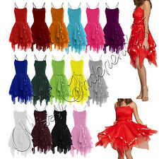Womens Sleeveless Strappy Cami Tie Up Ladies Mesh Frill Ruched Prom Party Dress