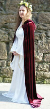 Medieval-LARP-Gothic-Cosplay-Wicca-Pagan UNLINED Burgundy Hooded Cloak