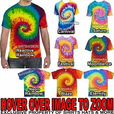 Mens 100% PRESHRUNK Cotton Tie-Dye T-Shirt Adult Tye Die Tee S, M, L, XL NEW!