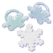 Snowflake Cupcake Topper Rings - Set of 12 (Sparkle Christmas Holiday Frozen)
