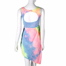 Fashion Women Tie-dyed Irregular Dress Backless Package Hip Sexy Vest Dress EO