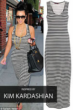 Womens Ladies Celeb Monochrome Stripe Full Length Racer Back Maxi Dress 8-14
