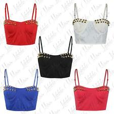 Womens Ladies Gold Spike Studded Zip Back Bra Party Cropped Bralet Top 8-14