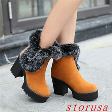 High Chunky Heel Women Lady Platform Furry Snow Boots Ankle Boots Shoes Size 46