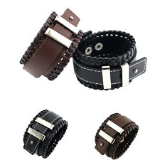 Fashion Men Unisex Weave PU Leather Bracelet Bangle Cuff Wristband with Buckle