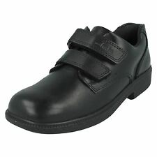 BOYS CLARKS RIPTAPE STRAP LEATHER PADDED COLLAR SCHOOL SHOES TRAINERS DEATONGATE